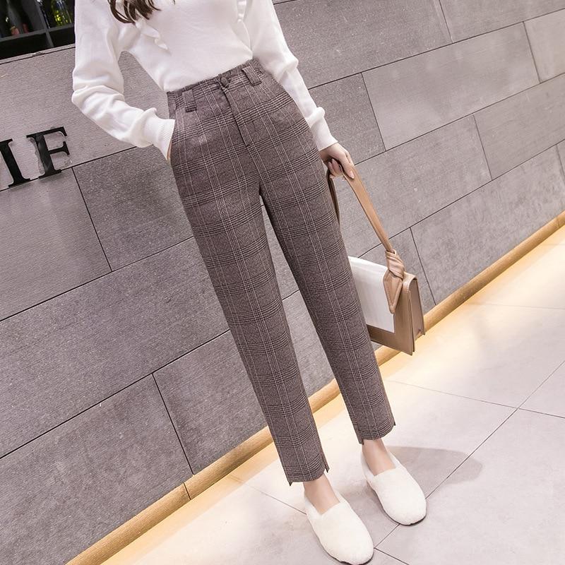 S-2xl Autumn Winter Plaid Wool Harem Pants Female 2020 Ankle-length High Waisted Pants Harem Pants Women Plus Trousers Women