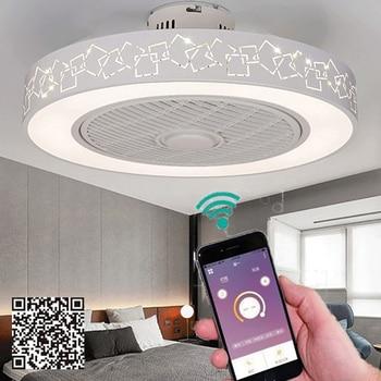 Lámpara de ventilador de techo de 50cm y 220v con Control remoto para teléfono móvil, aplicación de control bluetooth con luces para interiores, ventiladores de techo para el hogar, buen sueño