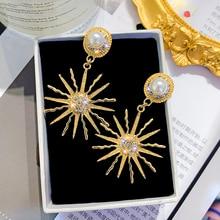 Korean Fashion Flash Crystal Long Earrings Geometric Hollow Round Rhinestone 2019 Trend Drop Earrings for Women Party Jewelry цена и фото