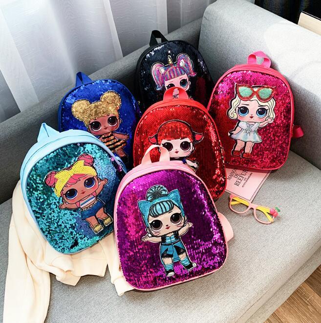 LOL Dolls Mochila Bag Children's School Cute Bag Shinning Bag Cartoon Print Cute Anime Kids Backpack Kindergarte