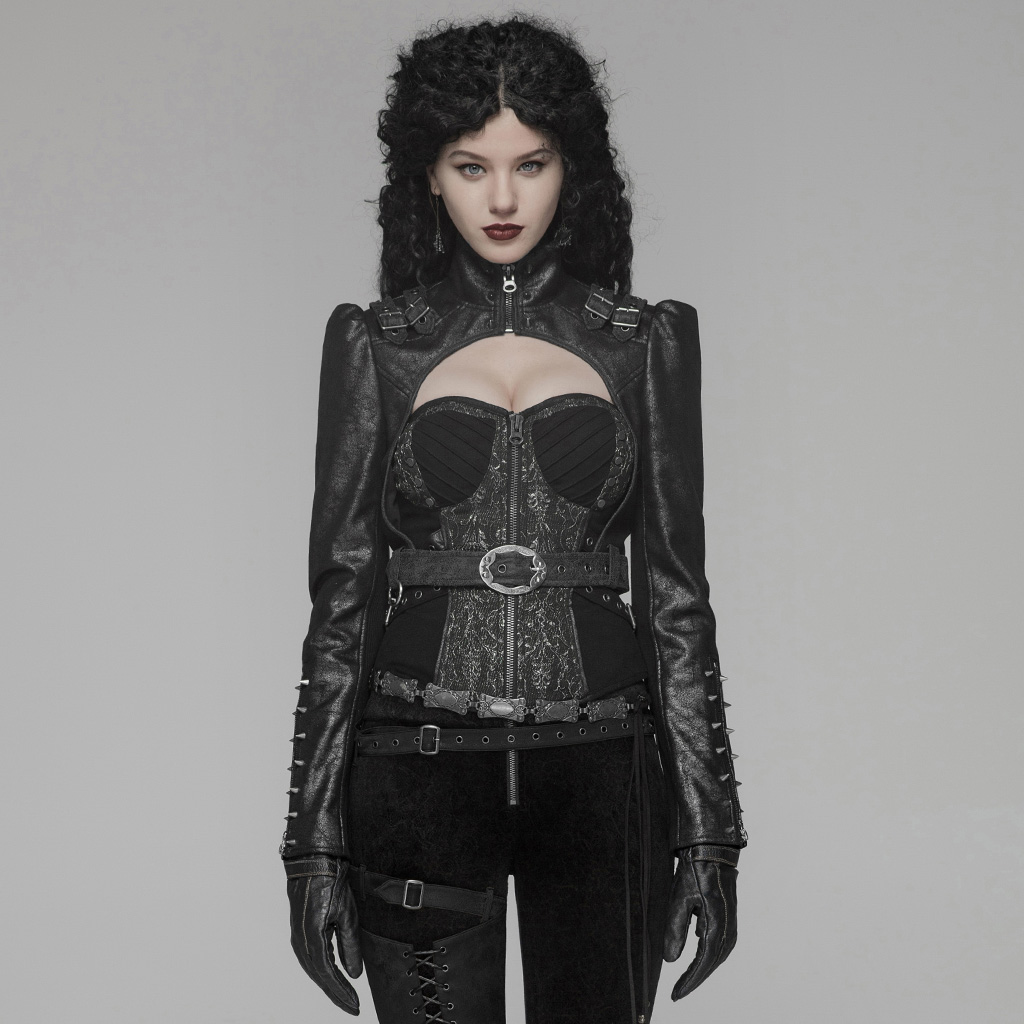 PUNK RAVE femmes Steam Punk veste courte brillant fissure évider Rivet moto personnalité mode noir manteau