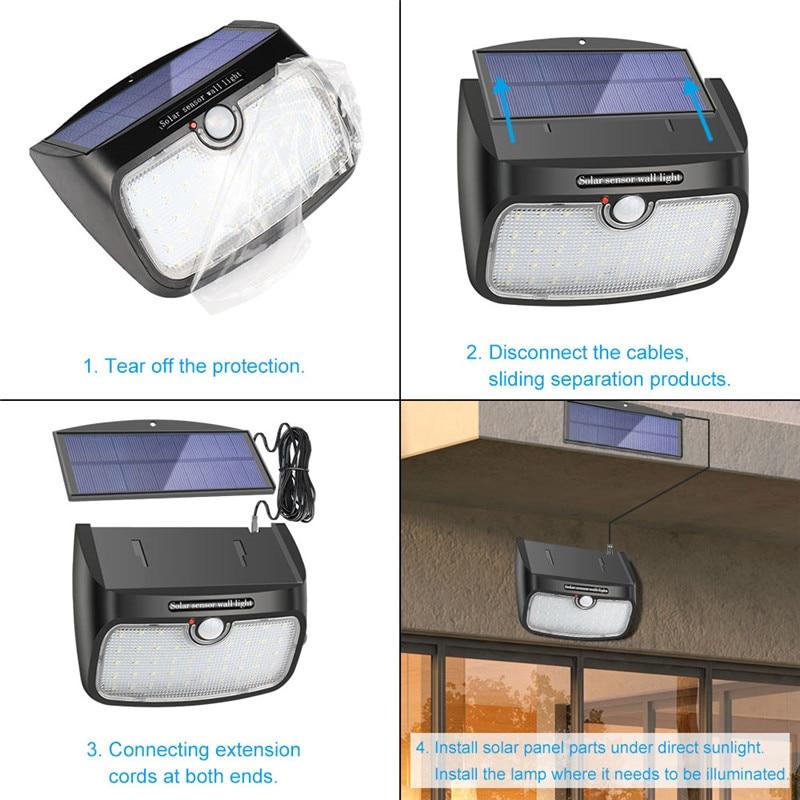 quintal cerca com linha separável energia solar luz três modos trabalho