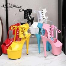 Women Shoes 15CM 17CM 20CM High Heels Catwalk Pole Dance Sandals Fine Heels Thick Bottom Ankle Strap Sexy Platform Wedding Shoes