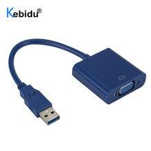 Kebidu VGA Adapter External USB 3.0 to VGA Video Cable Multi Display Converter for Win 7/8/10 Desktop Laptop PC Monitor