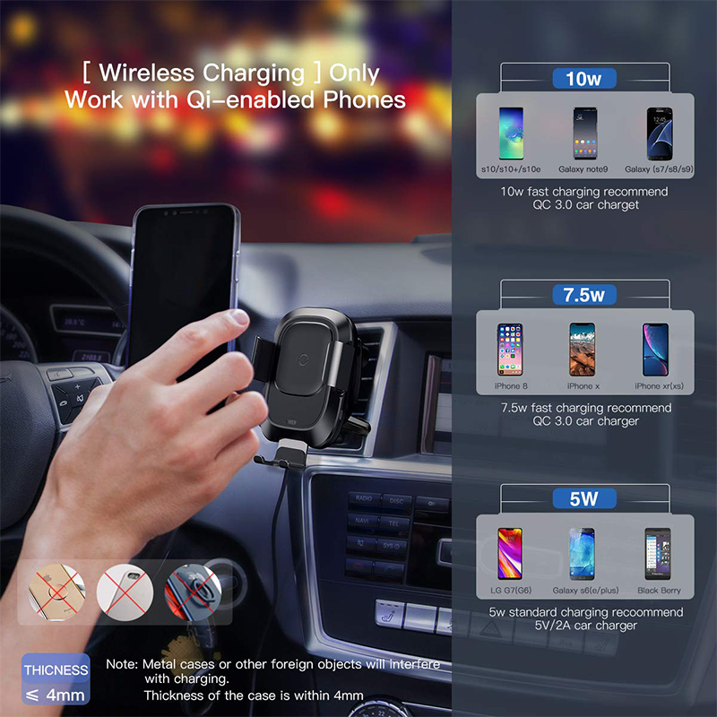 Image 3 - Baseus Car Phone Holder for iPhone Samsung Intelligent Infrared Qi Car Wireless Charger Air Vent Mount Mobile Phone Holder Stand-in Phone Holders & Stands from Cellphones & Telecommunications