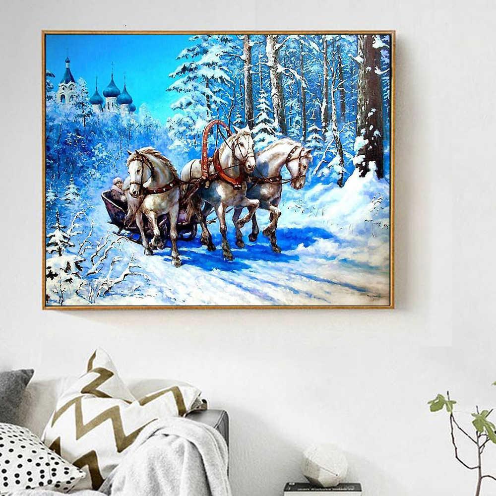 Evershine 5D יהלומי ציור תפר צלב סוס חיות פסיפס רקמת מלא סט חורף ריינסטון תמונות קישוט בית