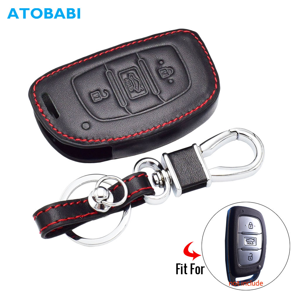 Leather Car Key Case For Hyundai IX20 IX30 IX35 I40 IX25 Tucson Elantra Verna Sonata 3 Buttons Smart Remote Fob Cover Keychain