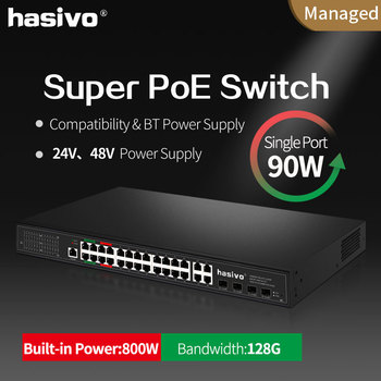 Support 24v 48v PoE managed switch with 4x90W PoE Gigabit port 4x30W PoE Gigabit port suitale for Hi power camera and devices