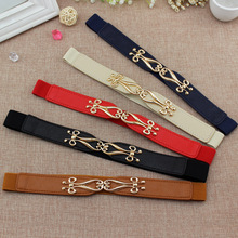 Elastic Waistband with gold buckle Cummerbunds for women dress Women Waist Band black belt Fashion Leather Strap Waist
