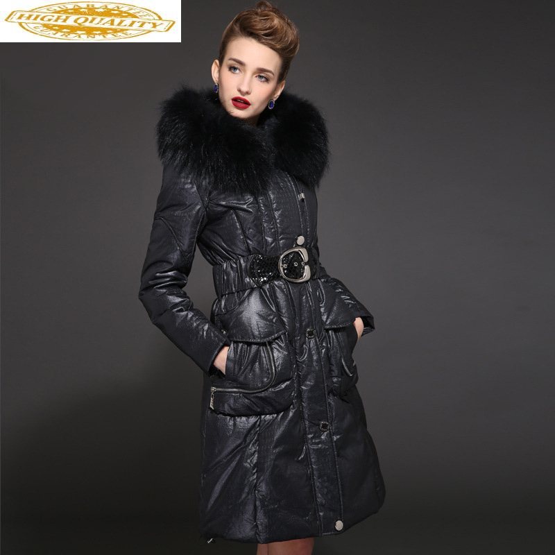 Long Winter Down Jacket Woman Hooded Duck Down Coat Large Fur Collar Fashion Luxury Women's Jackets Slim 2020 D00163 KJ2611