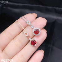 KJJEAXCMY boutique jewelry 925 sterling silver inlaid natural ruby female pendant necklace support test