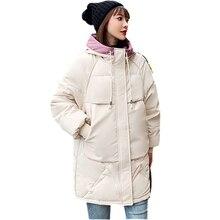 2019 nuevas chaquetas de mujer Abrigo con capucha caliente parkas cremallera señora Casual suelta downcoat Oversize prendas de vestir Wadded Parkas de Invierno para mujer
