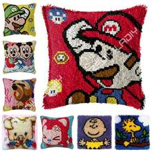 Latch Hook Kits Super Mario Cushion Cover Pre-Printed Color Canvas Crocheting Arts & Crafts Pillow Case Sofa Pillows Home Decor(China)