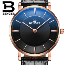 BINGER Fashion Mens Watches Top Brand Luxury Quartz Watch Men Casual Leather Waterproof Sport Watch Relogio Masculino 2019