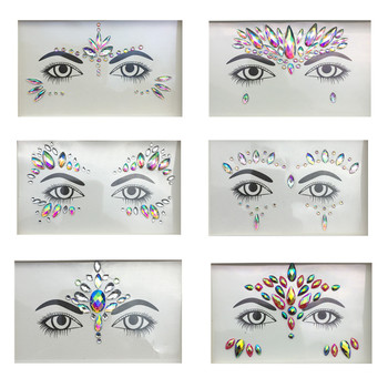 3D Crystal Glitter Jewels Tattoo Sticker Women Fashion Face Body Gems Gypsy Festival Adornment Party Makeup Beauty Stickers 1