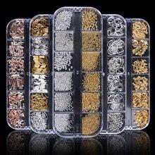 1 чехол золотые, серебряные, полые 3D украшения для дизайна ногтей микс металлическая рамка заклепки для ногтей Блестящий кулон стразы аксессуары для маникюра шпильки JI772