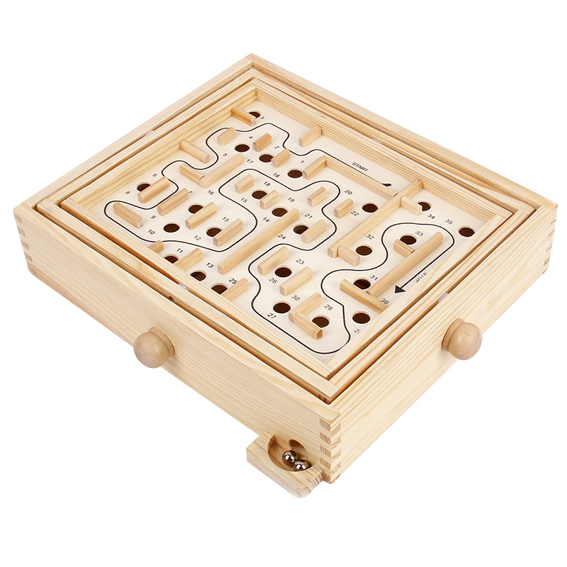 Wooden Labyrinth Puzzle Educational Toy Children Adult Elderly Hand-eye Coordination Maze Board Game Brain Teaser Balance Toy