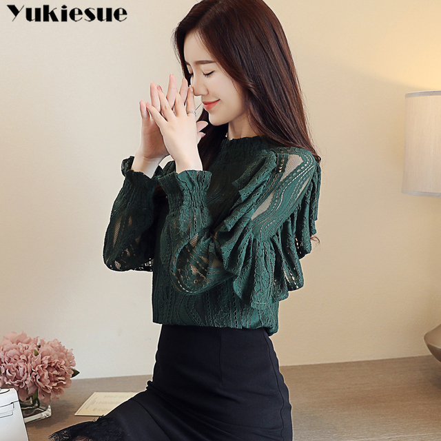 Spring Stand Collar Hollow Out Blouse Elegant ruffless Office Lady black Shirt  Women Long Sleeve Lace Tops Blusa Streetwear 2