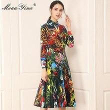 MoaaYina Fashion Designer Set Spring Women Long sleeve Floral-Print Shirt