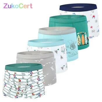 Lote de 6 unidades de calzoncillos de algodón orgánico suave para niños, ropa interior, Bóxer corto para niños, ropa de adolescentes para 2-10 años
