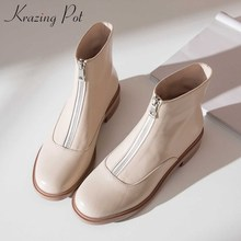 Ankle-Boots Krazing-Pot Low-Heels Zipper Winter Warm Genuine-Leather Fashion Women Solid