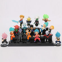 16 pçs/set Dragon Ball Z Super Saiyan Goku Gohan Vegeta Vegetto troncos Freeza Jiren Mini PVC Figuras de dragon ball Brinquedos(China)
