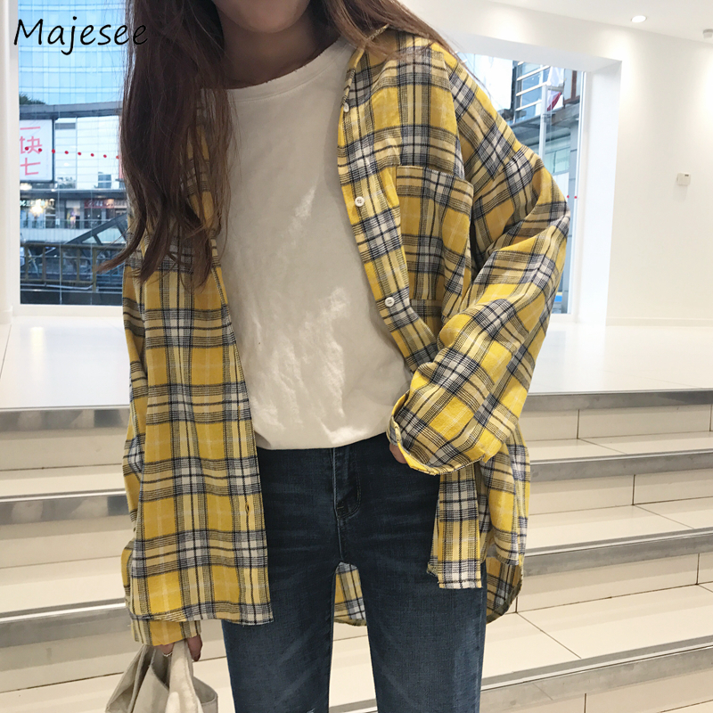 Shirts Women Yellow Plaid Turn-down Collar Single Breasted Student Simple Korean Style Harajuku All-match Casual High Quality