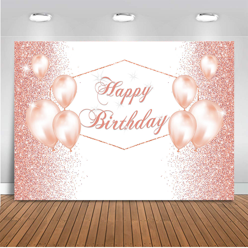 Glittering  Birthday Party Backdrop Rose Golden Balloon  Photography Background Decorative Banner