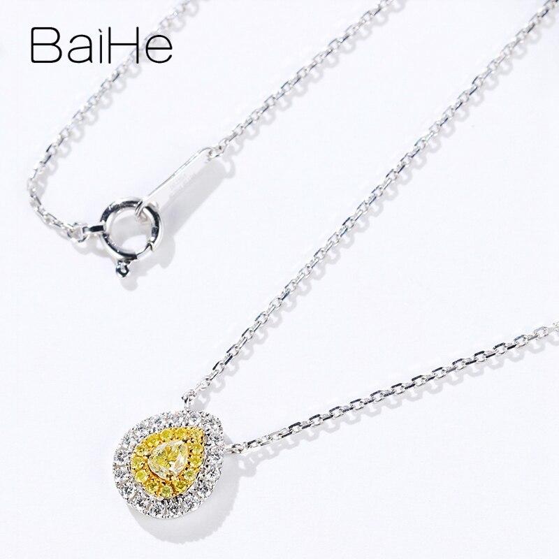 Baihe sólido 18 k ouro branco total 0.28ct h/si pêra + diamantes naturais redondos + diamantes amarelos mulheres na moda presente de casamento colares - 4