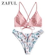 ZAFUL Bikini Women Floral Strappy Mix Match Bikini Set Padded Spaghetti Straps Wire Free Swim Suit Strappy Swimwear Bathing Suit zaful bikini new padded spaghetti straps bikini set cami string bralette bathing suit swimwear brazilian swimsuit women biquni