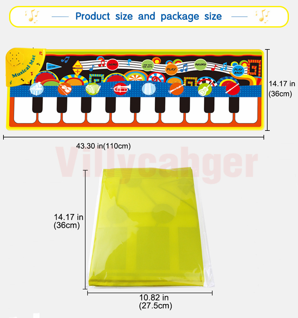 Hd914c51896f3421c9a40a0e85ab6fdaeO 110x36cm Musical Piano Mat Baby Play Mat Toy Musical Instrument Mat Game Carpet Music Toys Educational Toys for Kids Xmas Gift