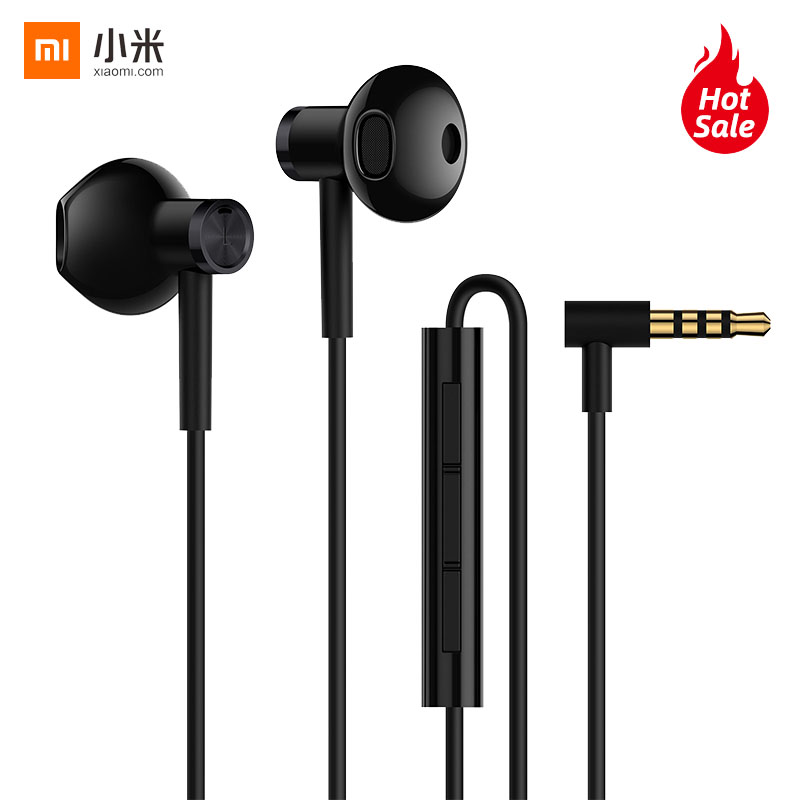 Original Xiaomi Hybrid DC Half In Ear Earphone Microphone Wire Control Dual Diver Horn L Shape Earphones for Android IOS System