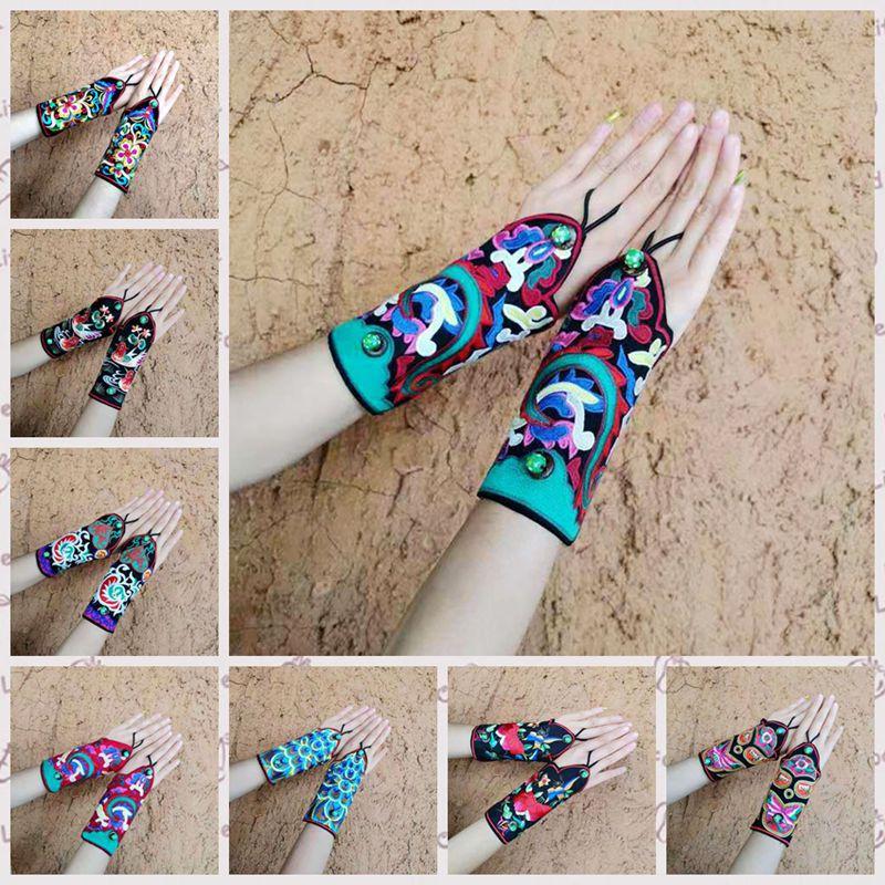 Caratteristiche di stile nazionale retrò bracciali da polso femminile ricamato wristband del ricamo retro braccialetto di modo guanti