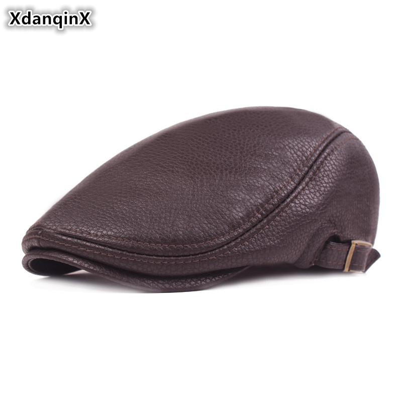 Мужские береты XdanqinX из искусственной кожи, зимняя простая модная шапка с язычком из искусственной кожи, теплая зимняя шапка для людей средн...