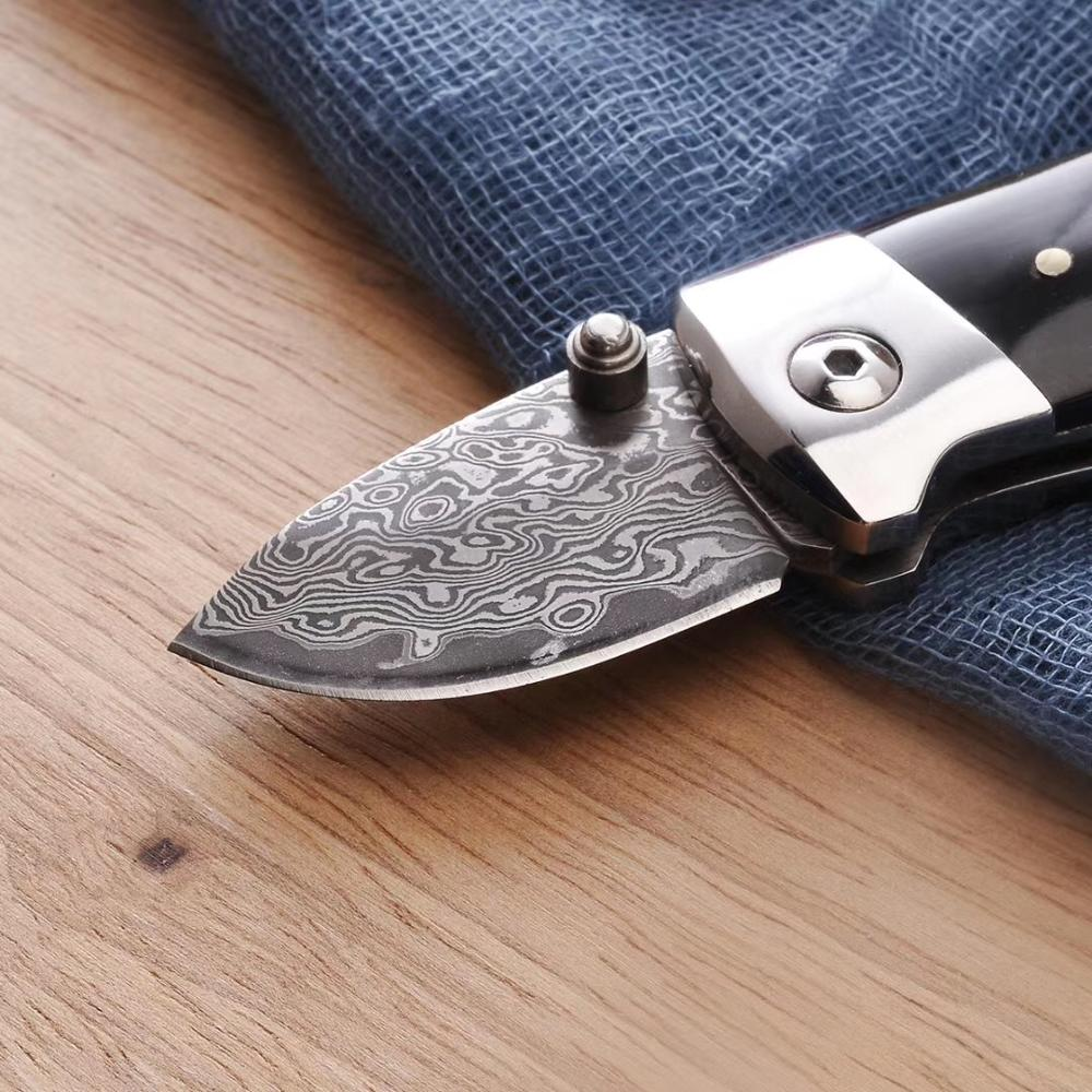 Folding Knife Outdoor Camping  Pocket Knives Damascus Steel Keychain  EDC Tool Fast Opening Premium Buffalo Horn Handle