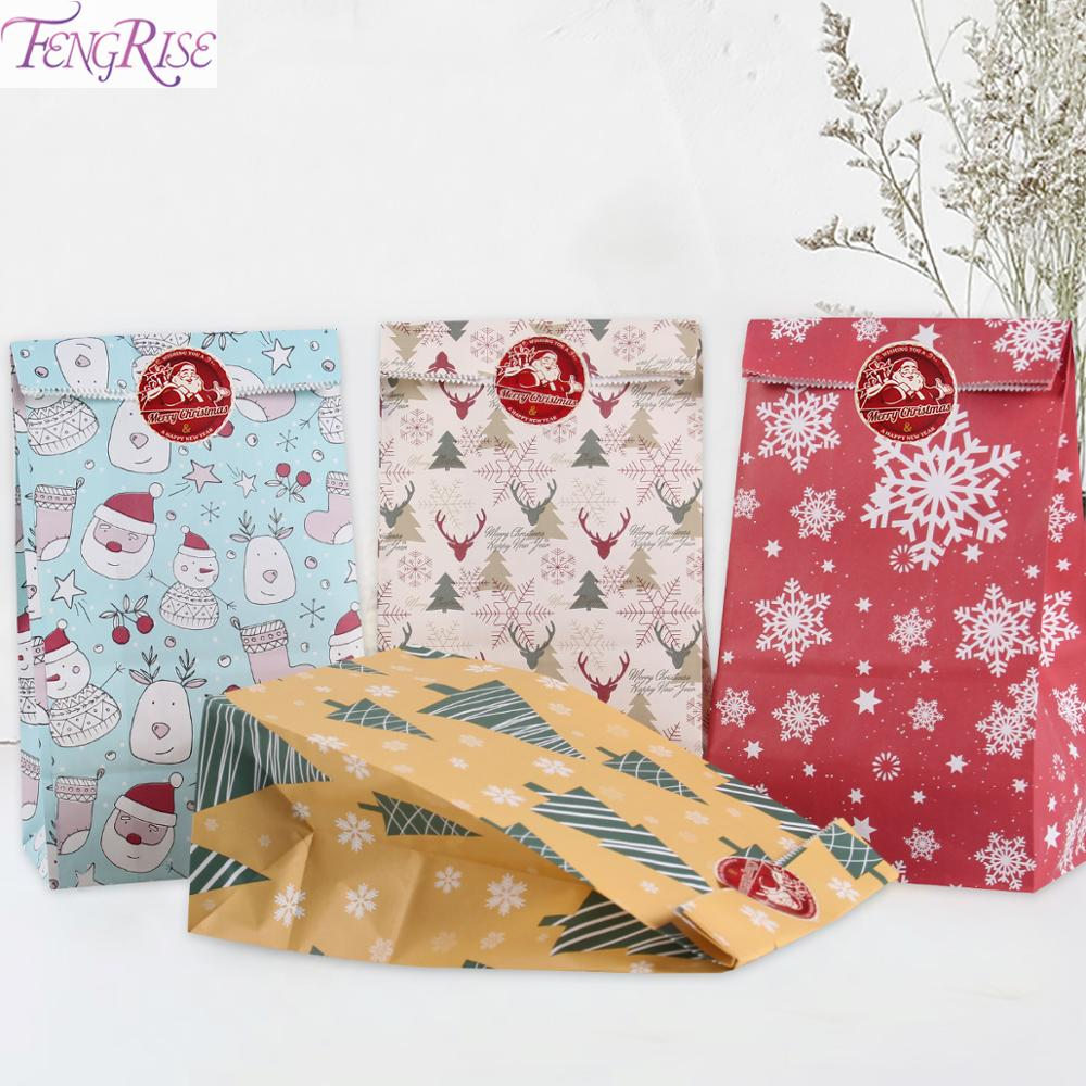 Ice Cream Xmas Candy Boxes Christmas Kraft Bag Paper Popcorn Box Goodie Bags Gift Bag Kids Party Favors Candy Bag Birthday Deco