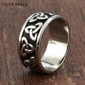 Anillo de nudo en espiral celta para hombre de 9mm, anillo clásico vikingo nórdico de acero inoxidable, joyas de religión para motorista, Tamaño 7-13