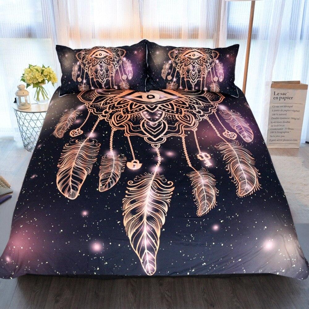BOHO Sun Moon Duvet Cover Pillowcase Bedding Set Twin Full Queen King Dreamcatch