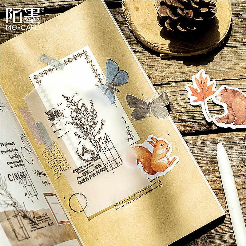 1PCS Kawaii Foresta di Autunno Memo Pad Plaid e Linee Sticky Note di Carta Cancelleria Adesivi Delicati Bookmark Post-it Etichetta