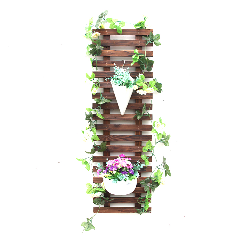 Solid Wooden Wall Decoration Wall Hanging Flower Rack Courtyard Wall Hanging Grid Climbing Flower Rack Outdoor Carbonized Antico