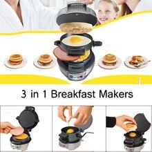 Многофункциональный 3 в 1 чайник для завтрака, Электрический сэндвич-гамбургер, барбекю, не прилипающая сковорода 220 в 750 Вт, мини кухонный инструмент для приготовления пищи
