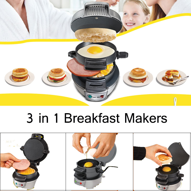 Multifunction 3 In 1 Breakfast Maker Electric Sandwich Hamburger Barbecue No-Stick Pan 220V 750W Mini Kitchen Cooking Tool