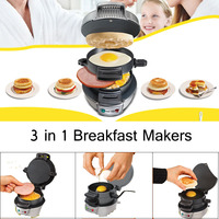 Multifunction 3 In 1 Breakfast Maker Electric Sandwich Hamburger Barbecue No Stick Pan 220V 750W Mini Kitchen Cooking Tool