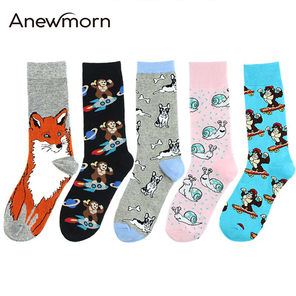Anewmorn Women Man Animals Monkey Fox Cotton Funny Socks Girls Male Female Fashion Street Hip-hop Personality Crew Happy Socks