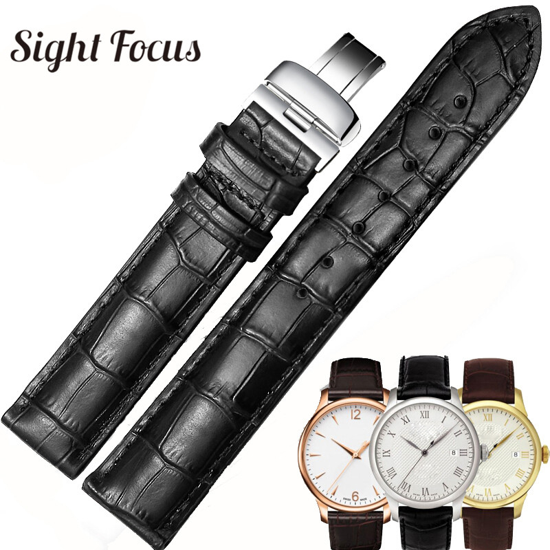 19mm 20mm 22mm Calfskin <font><b>Watch</b></font> Bands for Tissot Le Locle T41 T006 <font><b>PRC200</b></font> <font><b>Watch</b></font> Strap Wrist Belt <font><b>Watch</b></font> Bracelet 1853 Watchband Men image