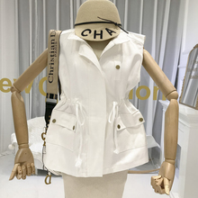 Safari Style Vest for Woman Solid Pockets Turn-down Collar Zipper 2019 Fall New Items Cardigan  Sleeveless Jacket Women
