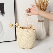 Fashion Women Straw Woven Solid Color Bucket Crossbody Shoulder Messenger Bag Ladies Summer Beach Vacation Small Handbags Purse