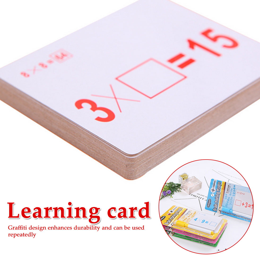 Mathematics Teach Card With Erasable Pen Math Educational Toys For Children Preschool Tool Kindergarten Games