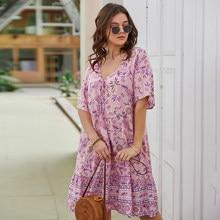 Chifirena Large Size Women Dress's Floral Print Beach Boho Summer Design Dresses Woman Loose Short Sleeve Sundress Party Vestido