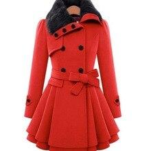 Womens New Style Vintage Woolen Coat Double Buckle Slim Trench Coats Lady Fur Collar Peacoat Winter Coat Outwear Plus Size